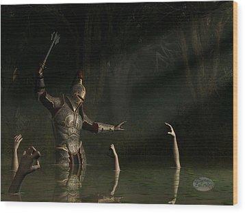 Knight In A Haunted Swamp Wood Print by Daniel Eskridge