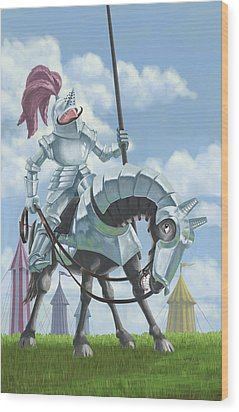 Knight In Shining Armour On Horesback Wood Print by Martin Davey