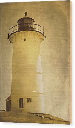 Knobska Point Light Lighthouse Woods Hole Ma Wood Print by Suzanne Powers