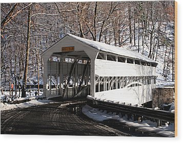 Knox Bridge In The Snow Wood Print by Michael Porchik