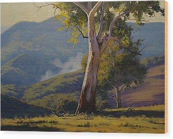 Koala In The Tree Wood Print