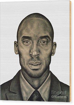 Kobe Bryant Black And White Print Wood Print by Rabab Ali
