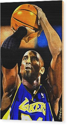 Kobe Bryant Drawing Wood Print by Dan Troyer