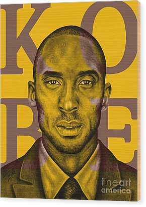 Kobe Bryant Lakers' Gold Wood Print by Rabab Ali