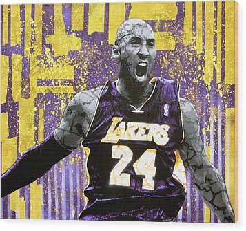 Kobe The Destroyer Wood Print by Bobby Zeik