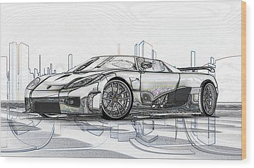 Koenigsegg Ccx Sketch  Wood Print by Louis Ferreira
