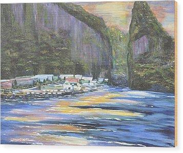 Wood Print featuring the painting Koh Panyee Island by Dottie Branchreeves