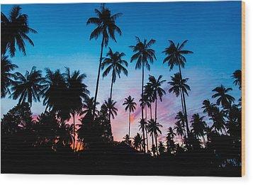Koh Samui Sunrise Wood Print by Mike Lee
