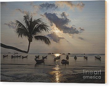 Koh Tao Sunset Wood Print by Alex Dudley