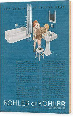 Kohler 1923 1920s Usa Cc Bathrooms Wood Print by The Advertising Archives