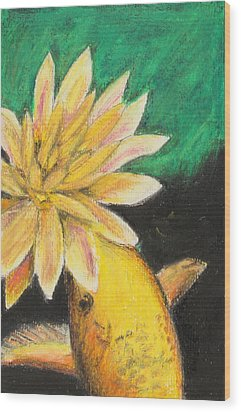 Wood Print featuring the painting Koi And The Lotus Flower by Jeanne Fischer