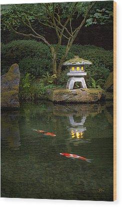 Koi By Lantern Light Wood Print