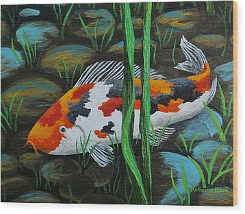 Koi Fish Wood Print by Katherine Young-Beck