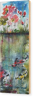 Koi Fish Pond Expressive Watercolor And Ink Wood Print