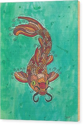 Wood Print featuring the painting Koi Fish by Susie Weber