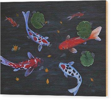 Koi Fishes Original Acrylic Painting Wood Print by Georgeta  Blanaru