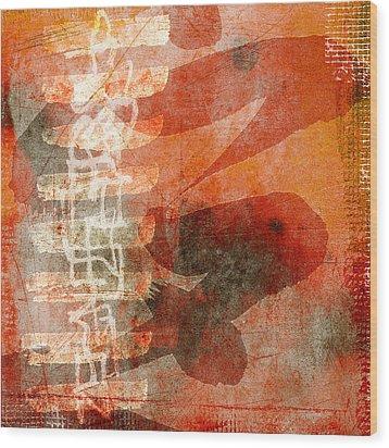 Koi In Orange Wood Print by Carol Leigh