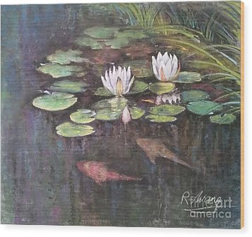 Wood Print featuring the painting Koi Pond by Rose Wang