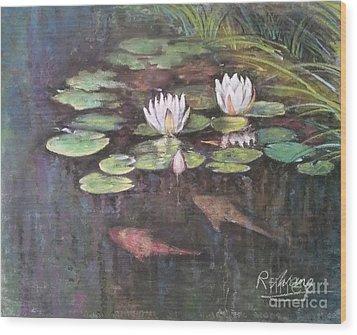 Koi Pond Wood Print by Rose Wang