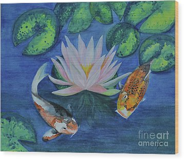 Wood Print featuring the painting Koi In The Lily Pond by Suzette Kallen
