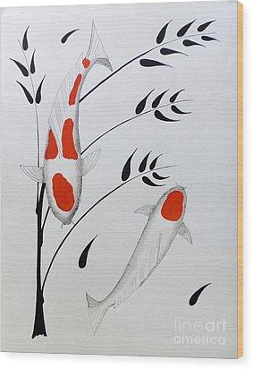 Koi Kohaku And Tancho With Bamboo Wood Print by Gordon Lavender