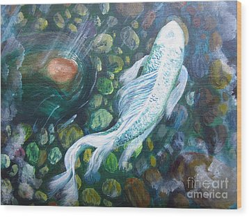 Wood Print featuring the painting Koi by Laurianna Taylor
