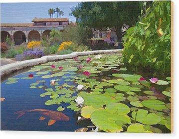 Koi Pond In California Mission Wood Print by Cliff Wassmann