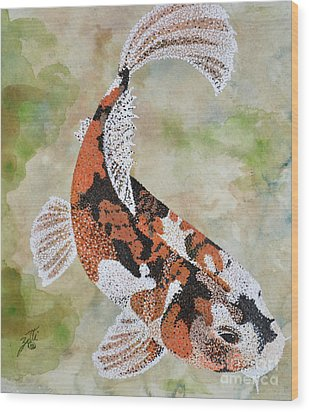 Wood Print featuring the painting Koi by Suzette Kallen
