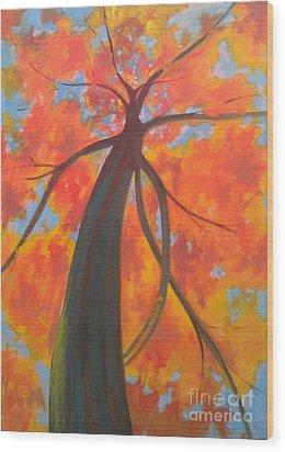 Koi Tree Wood Print by Piotr Wolodkowicz