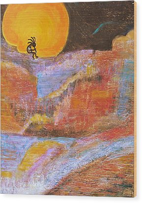 Kokopelli And The Big Moon Wood Print by Anne-Elizabeth Whiteway