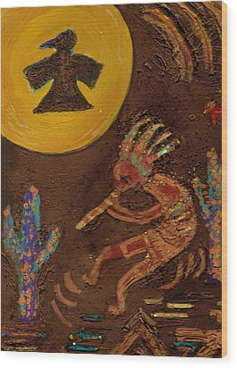 Kokopelli Dancing II Wood Print by Anne-Elizabeth Whiteway