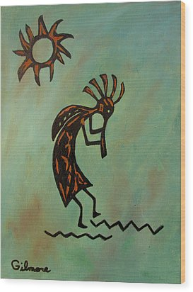 Kokopelli Flute Player Wood Print by Roseann Gilmore