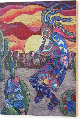 Kokopelli  Wood Print by Megan Walsh