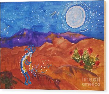 Kokopelli Playing To The Moon Wood Print by Ellen Levinson