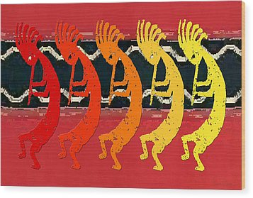 Kokopelli Quintet 4 Wood Print