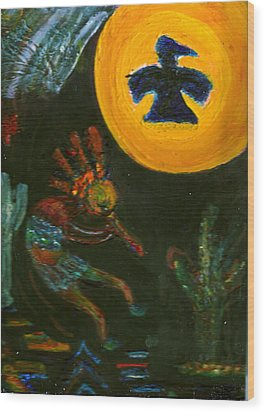 Kokopelli With Thunderbird In The Moon Wood Print by Anne-Elizabeth Whiteway