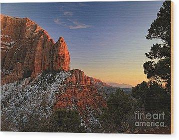 Kolob Sunset Wood Print