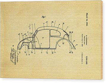 Komenda Vw Beetle Body Design Patent Art 1944 Wood Print by Ian Monk