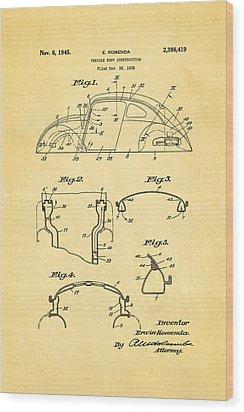 Komenda Vw Beetle Body Design Patent Art 1945 Wood Print by Ian Monk