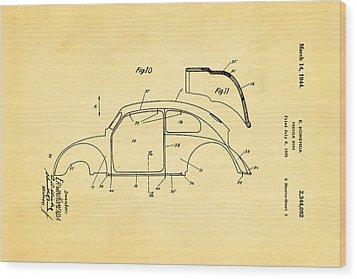 Komenda Vw Beetle Body Design Patent Art 2 1944 Wood Print by Ian Monk