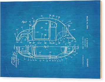 Komenda Vw Beetle Body Design Patent Art 3 1944 Blueprint Wood Print by Ian Monk