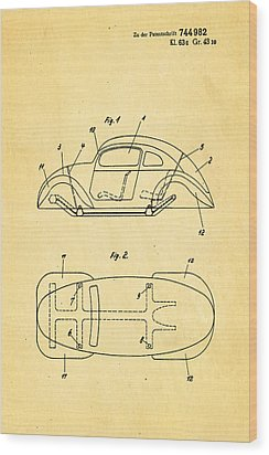 Komenda Vw Beetle Official German Design Patent Art Wood Print by Ian Monk