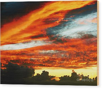 Wood Print featuring the photograph Kona Sunset 77 Lava In The Sky  by David Lawson