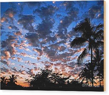 Kona Sunset Wood Print by David Lawson