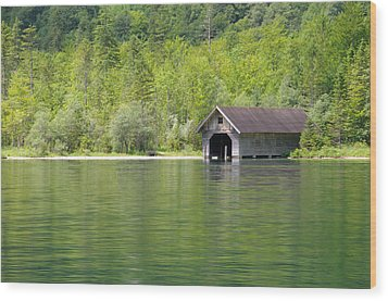 Konigsee Boathouse Wood Print