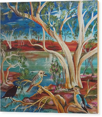 Wood Print featuring the painting Kookaburras Billabong by Roberto Gagliardi