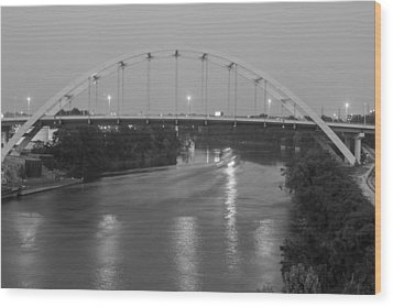 Wood Print featuring the photograph Korean Veterans Bridge At Night by Robert Hebert