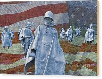 Korean War Veterans Memorial Bronze Sculpture American Flag Wood Print by David Zanzinger