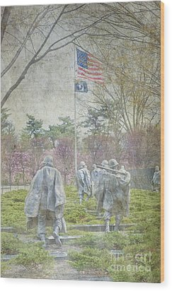 Korean War Veterans Memorial Washington Dc Beautiful Unique   Wood Print by David Zanzinger