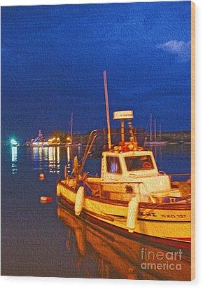 Kos Fisherman Boat Wood Print by Nur Roy